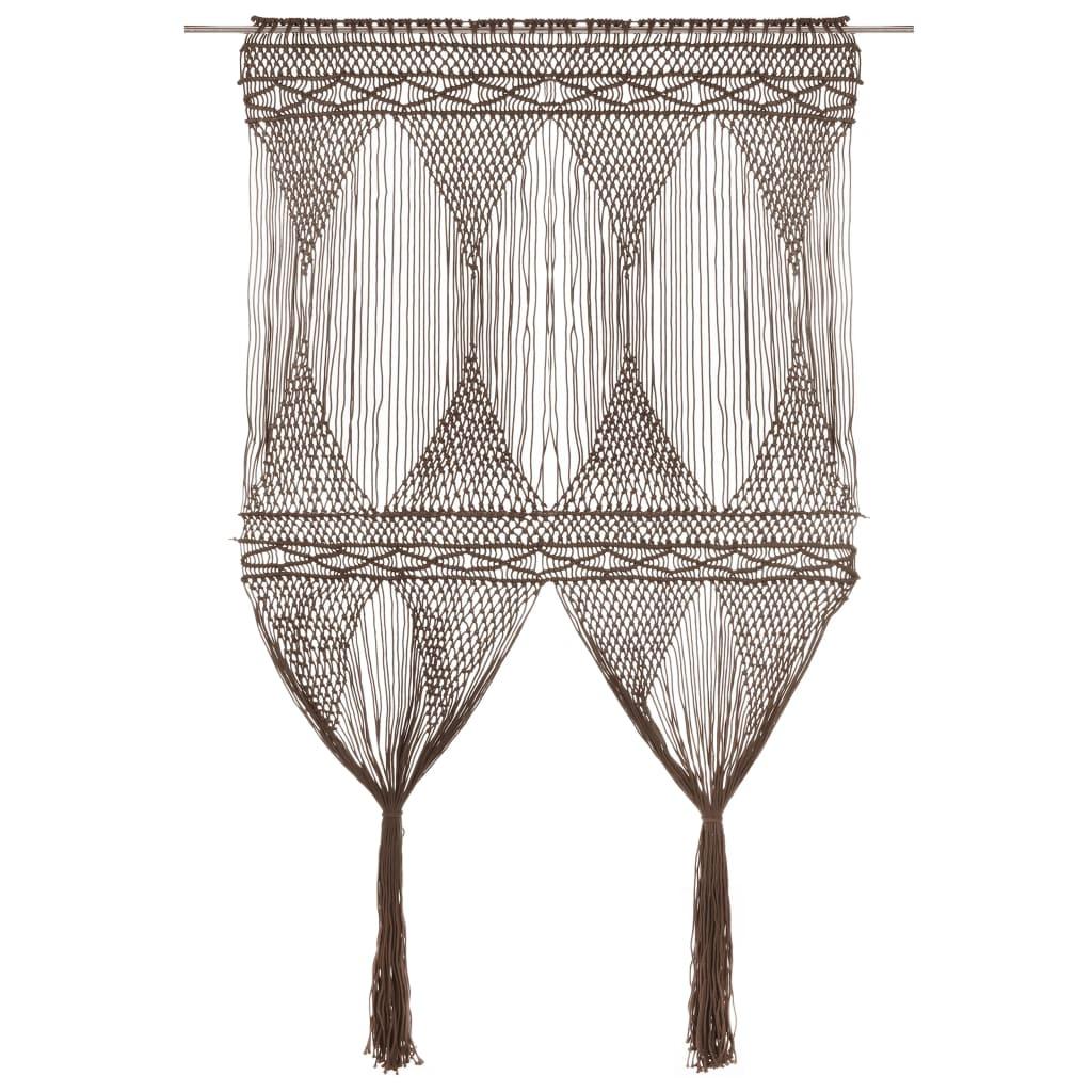 Makramee Vorhang Taupe 140×240 cm Baumwolle