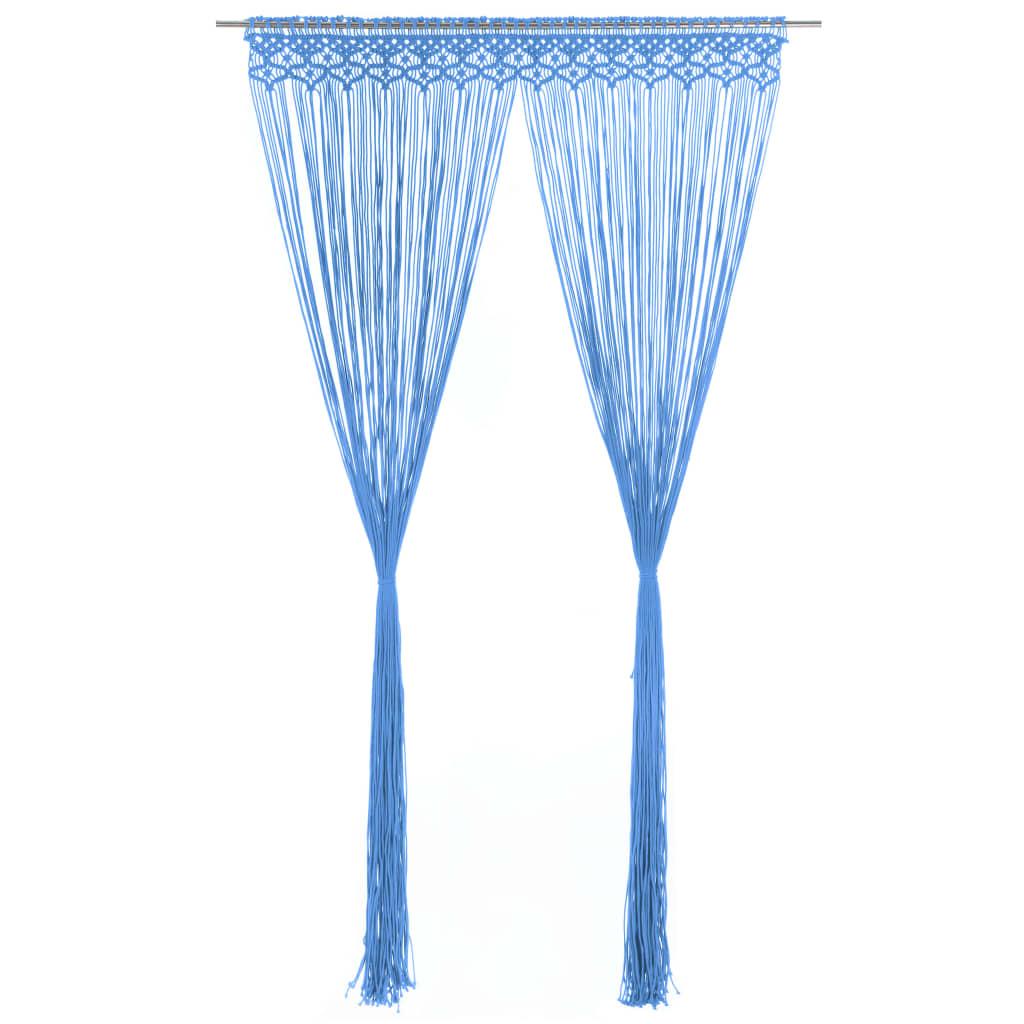 vidaXL Makramee Vorhang Blau 140×240 cm Baumwolle