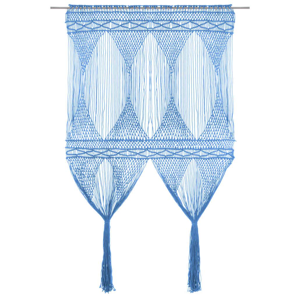 Makramee Vorhang Blau 140×240 cm Baumwolle