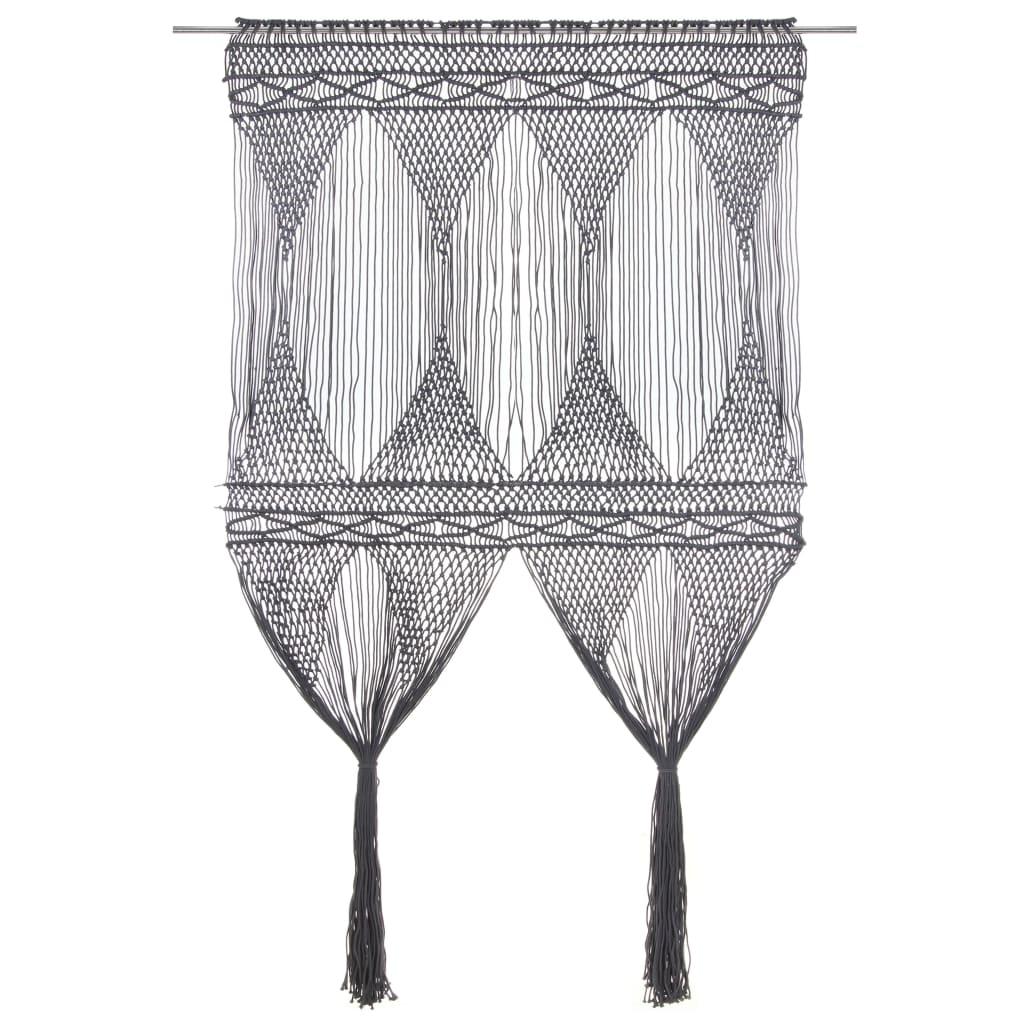 99323996 Makramee Vorhang Anthrazit 140x240 cm Baumwolle