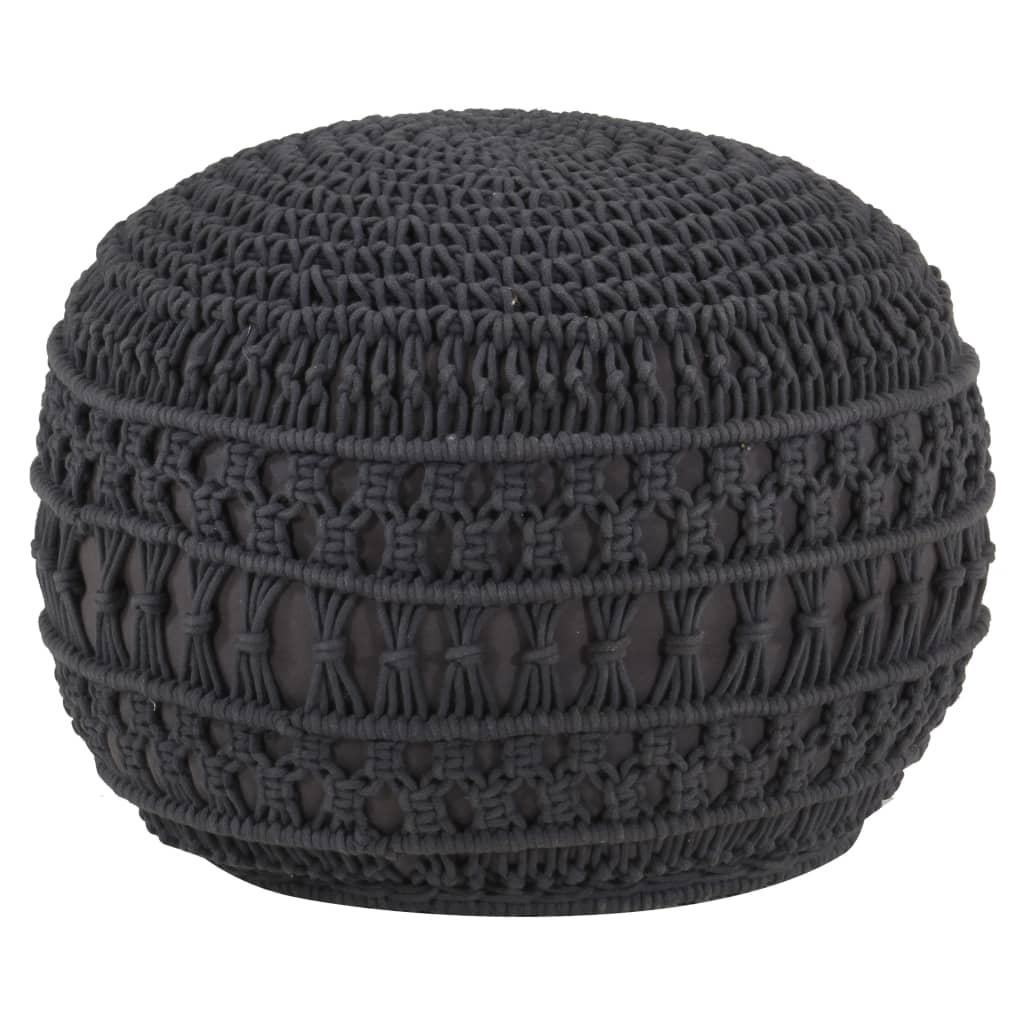 Ručně vyrobený sedací puf macramé antracitový 45 x 30 cm bavlna