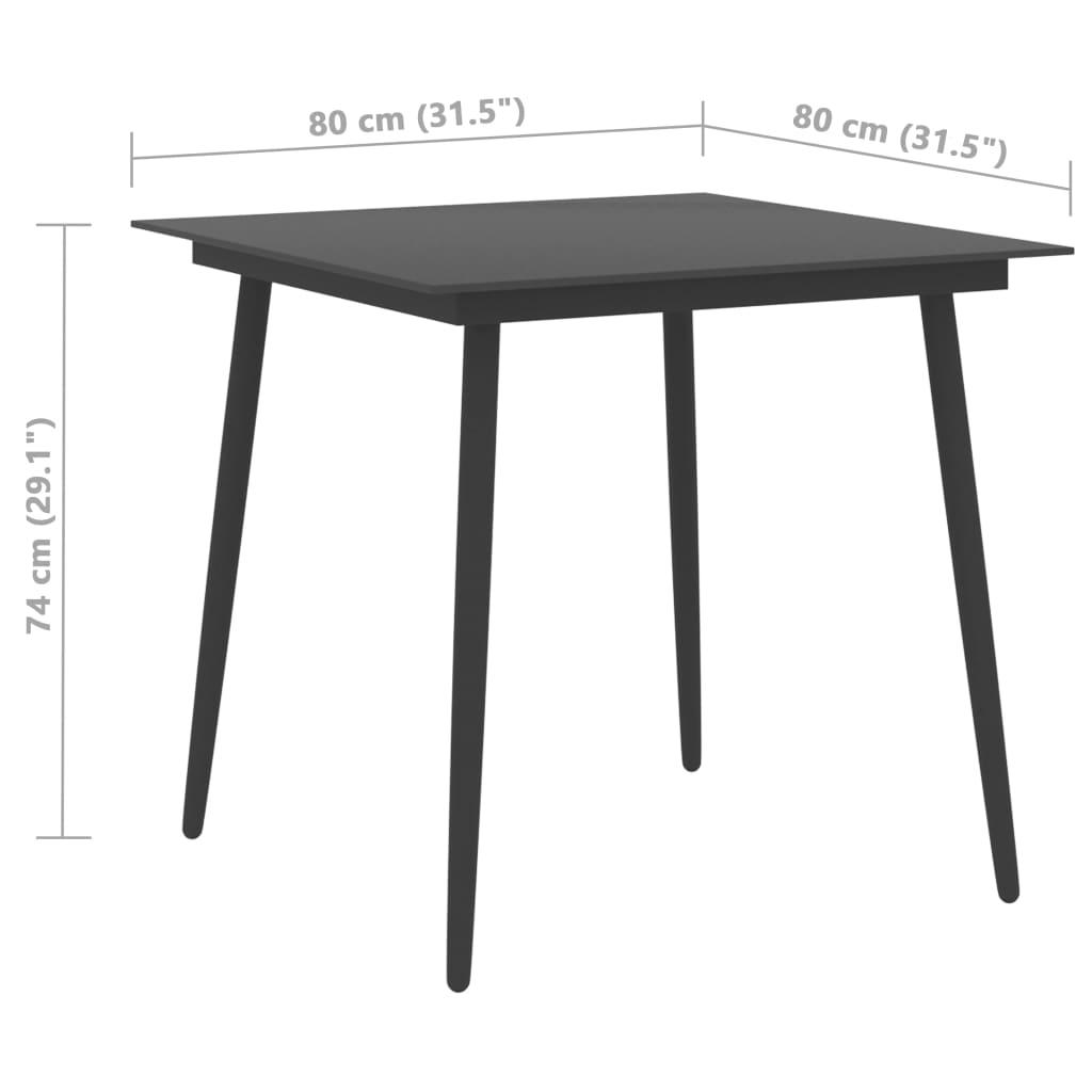 vidaXL Tuintafel 80x80x74 cm staal en glas zwart