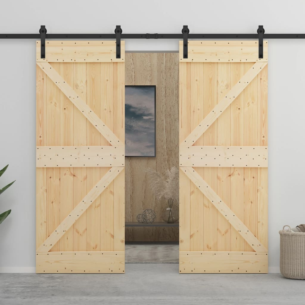 vidaXL Ușă glisantă cu set feronerie, 80 x 210 cm, lemn masiv de pin poza 2021 vidaXL