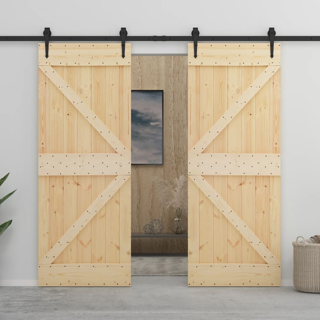 vidaXL Ușă glisantă cu set feronerie, 90 x 210 cm, lemn masiv de pin poza 2021 vidaXL
