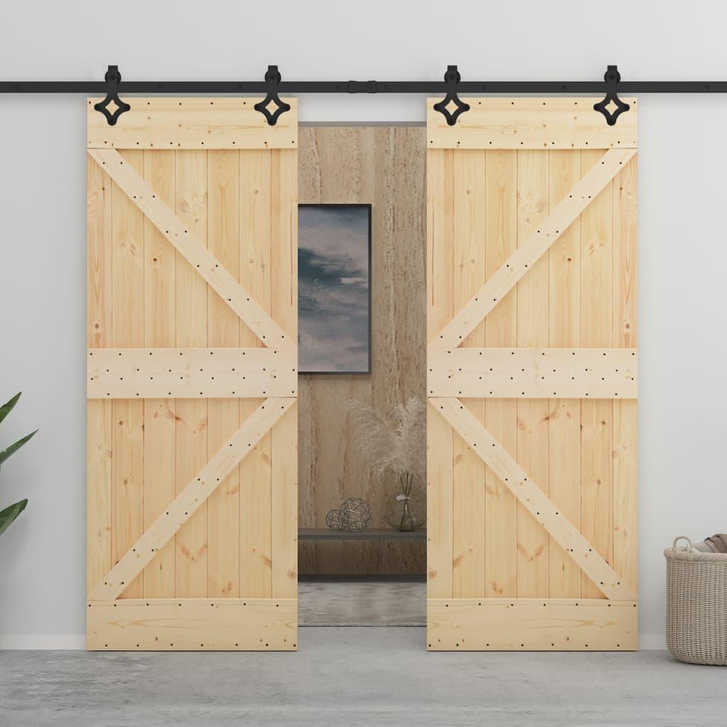 vidaXL Ușă glisantă cu set feronerie, 100 x 210 cm, lemn masiv de pin poza 2021 vidaXL