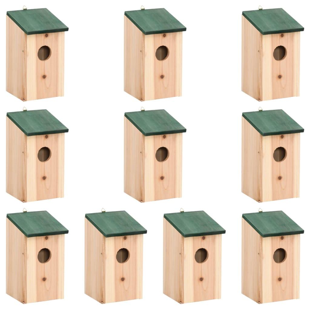 vidaXL Căsuțe de păsări ,10 buc., 12 x 12 x 22 cm, lemn masiv de brad vidaxl.ro