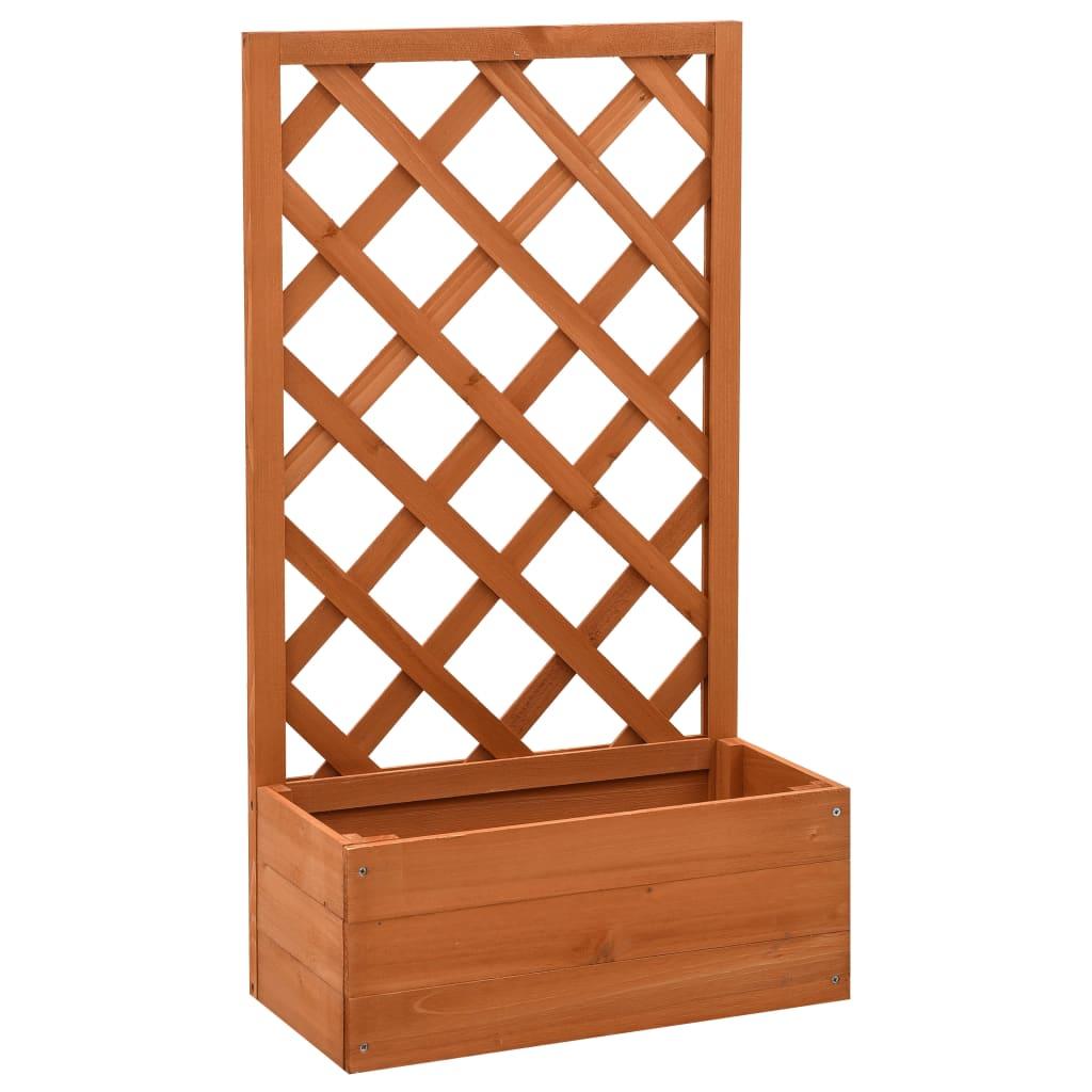 vidaXL Jardinieră cu spalier, portocaliu, 50x25x90 cm, lemn masiv brad poza vidaxl.ro