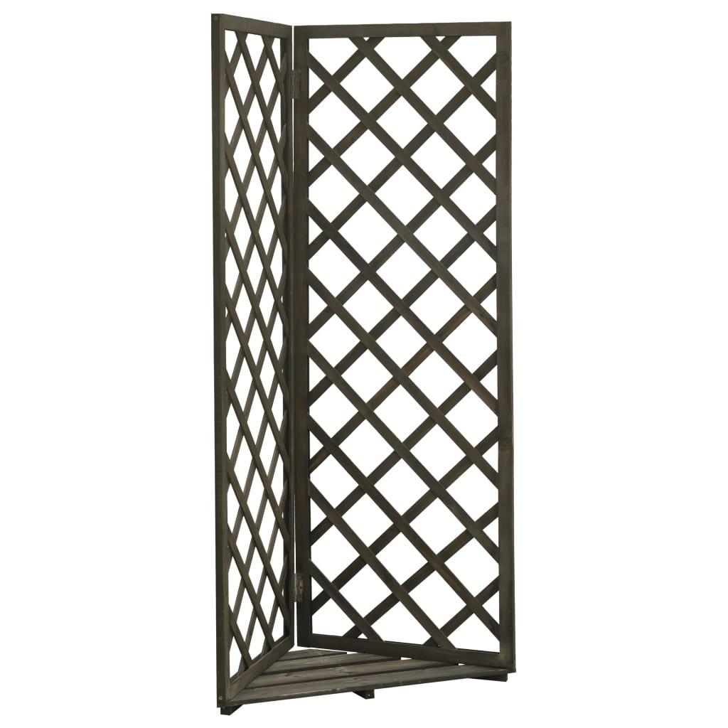 Eck-Spalier Grau 50x50x145 cm Massivholz Tanne