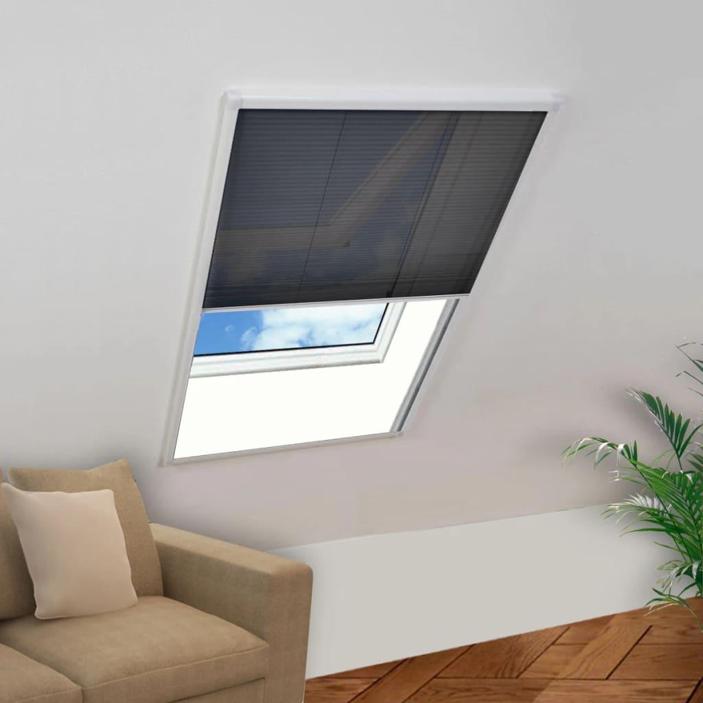 vidaXL Plasă insecte tip plisse pentru ferestre, 100 x 160 cm aluminiu poza vidaxl.ro