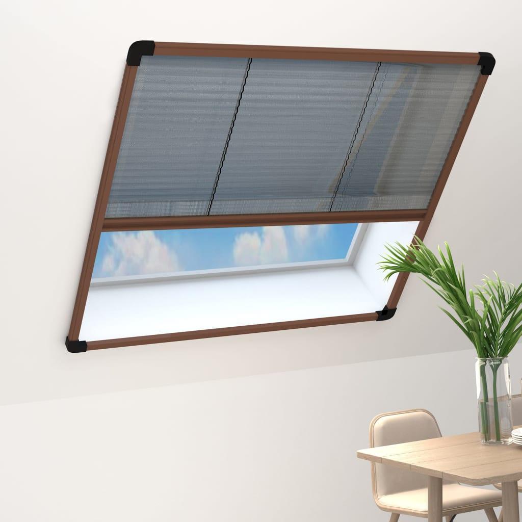 vidaXL Insektenschutz-Plissee für Fenster Aluminium Braun 120×160 cm