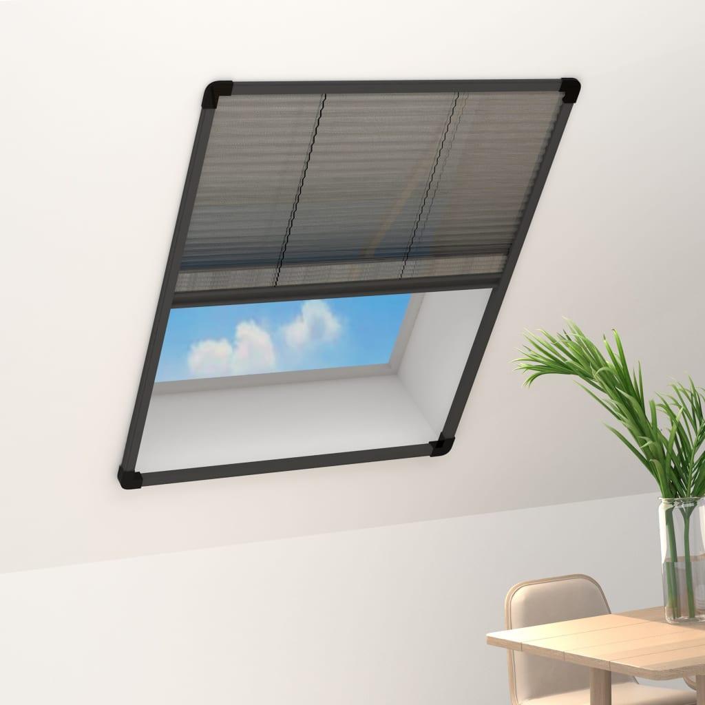 vidaXL Ecran insecte pentru ferestre, antracit, 80x100 cm, aluminiu imagine vidaxl.ro