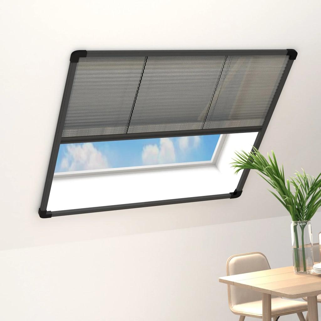 vidaXL Ecran insecte pentru ferestre, antracit, 120x120 cm, aluminiu imagine vidaxl.ro