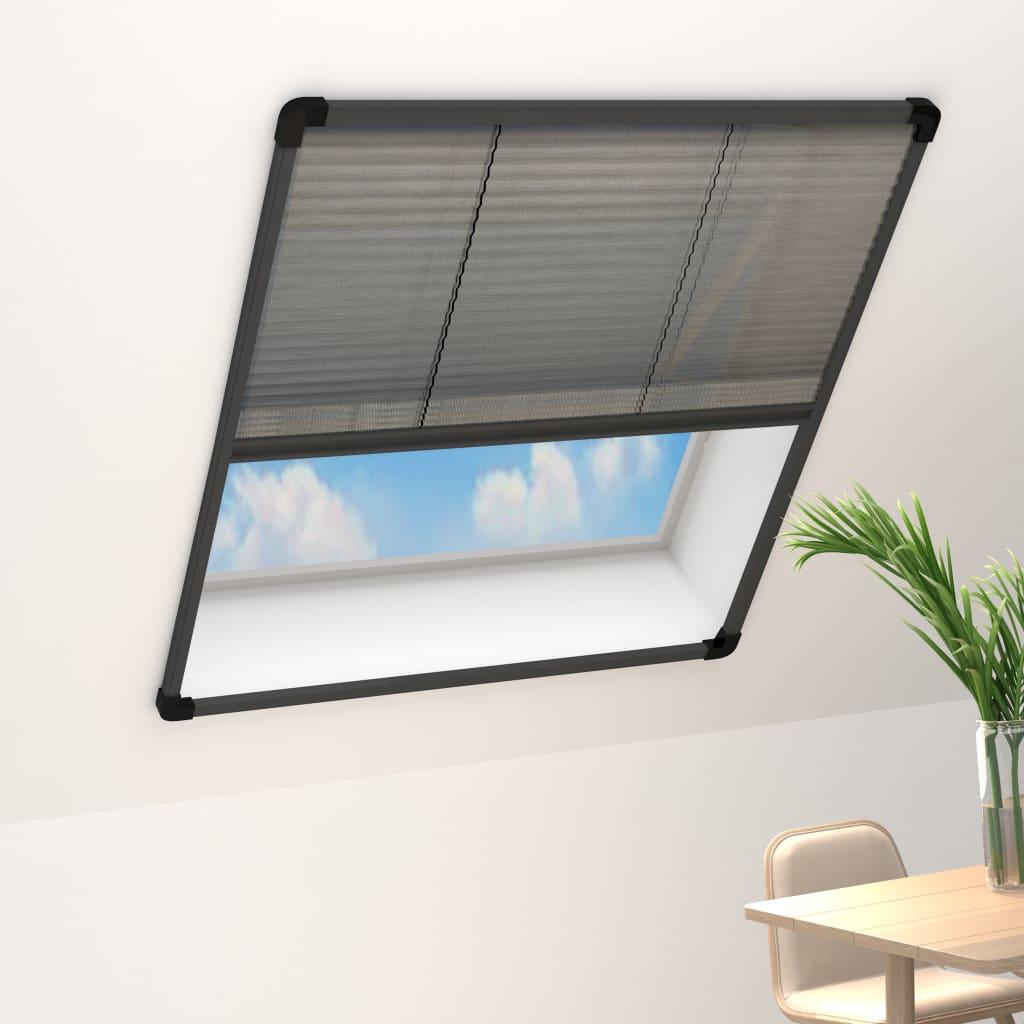 vidaXL Plasă insecte plisse pentru ferestre antracit 80x160cm aluminiu imagine vidaxl.ro