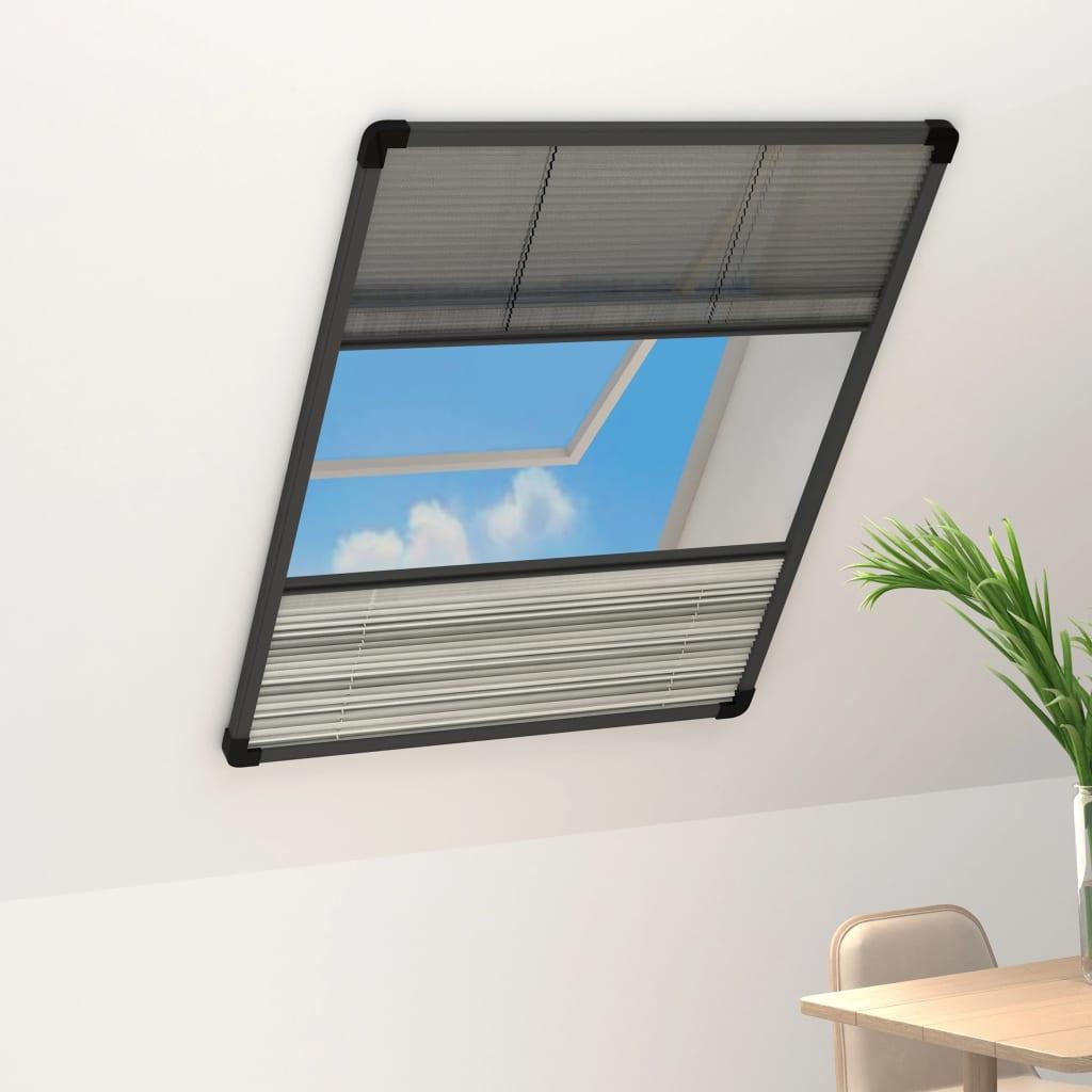 vidaXL Plasă insecte pentru ferestre, 60x80 cm, aluminiu, cu umbrar imagine vidaxl.ro