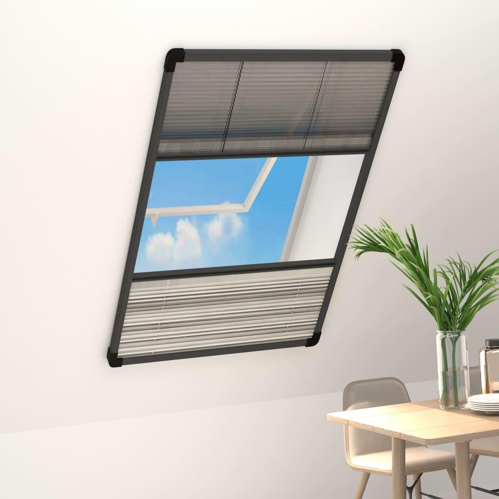 vidaXL Plasă insecte pentru ferestre, cu umbrar, 110x160 cm, aluminiu imagine vidaxl.ro