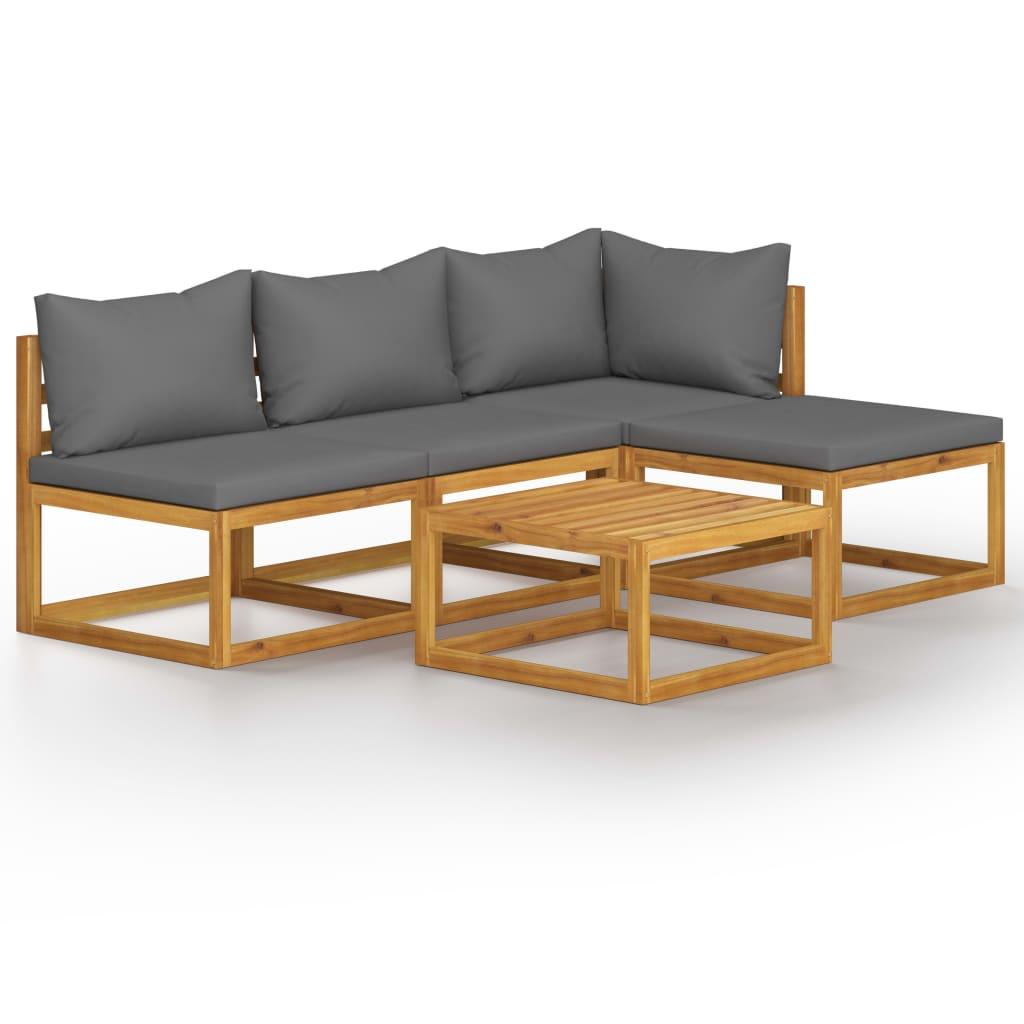 vidaXL Set mobilier de grădină cu perne, 5 piese, lemn masiv acacia vidaxl.ro