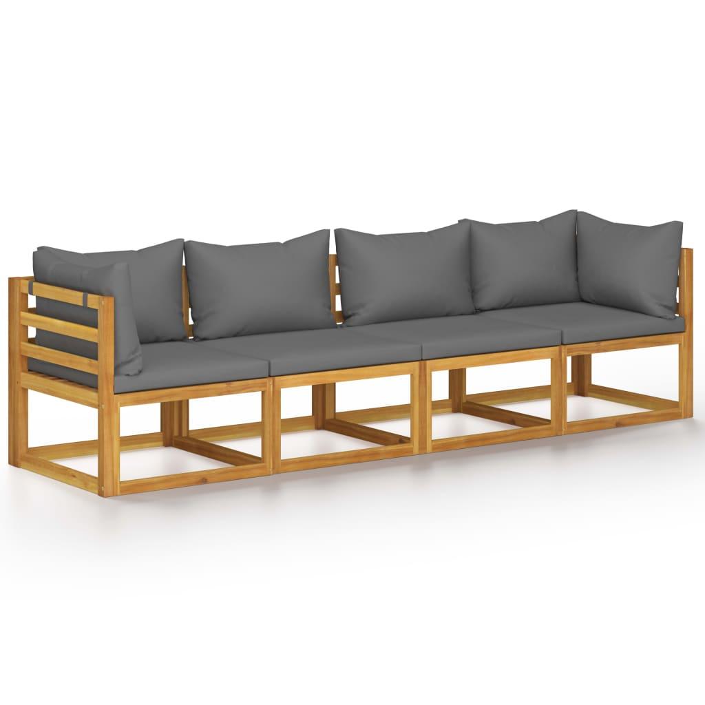 vidaXL Canapea de grădină cu 4 locuri, cu perne, lemn masiv de acacia imagine vidaxl.ro