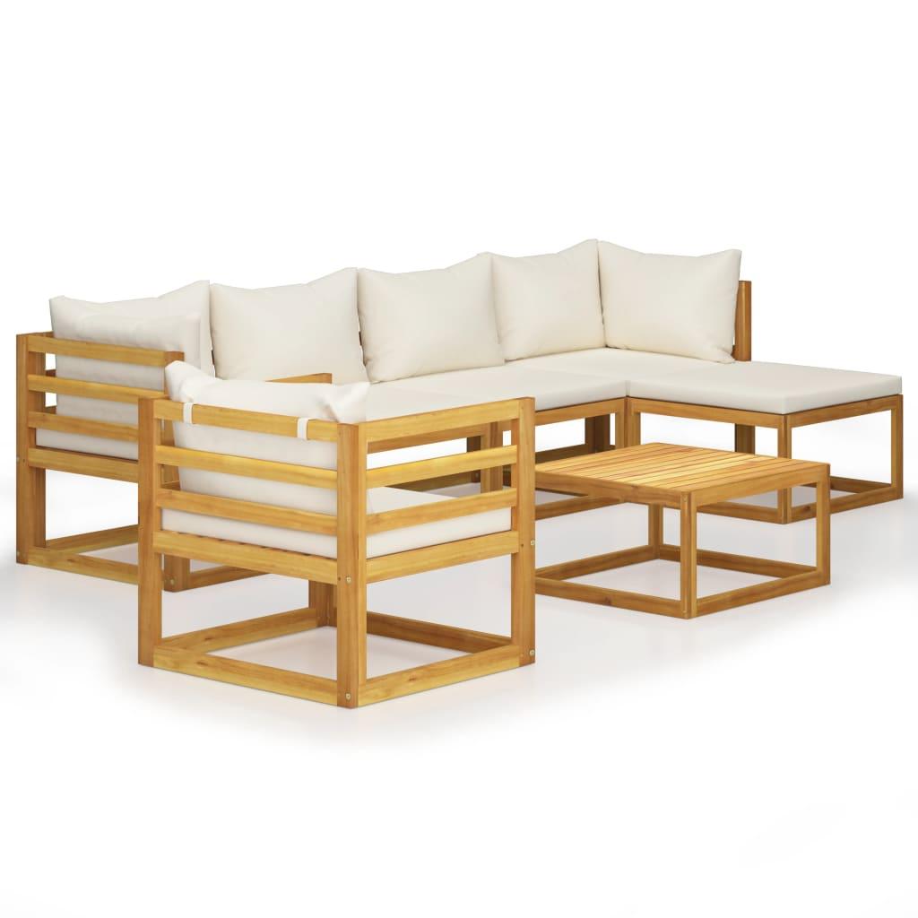 vidaXL Set mobilier de grădină cu perne, 7 piese, crem,lemn masiv acacia