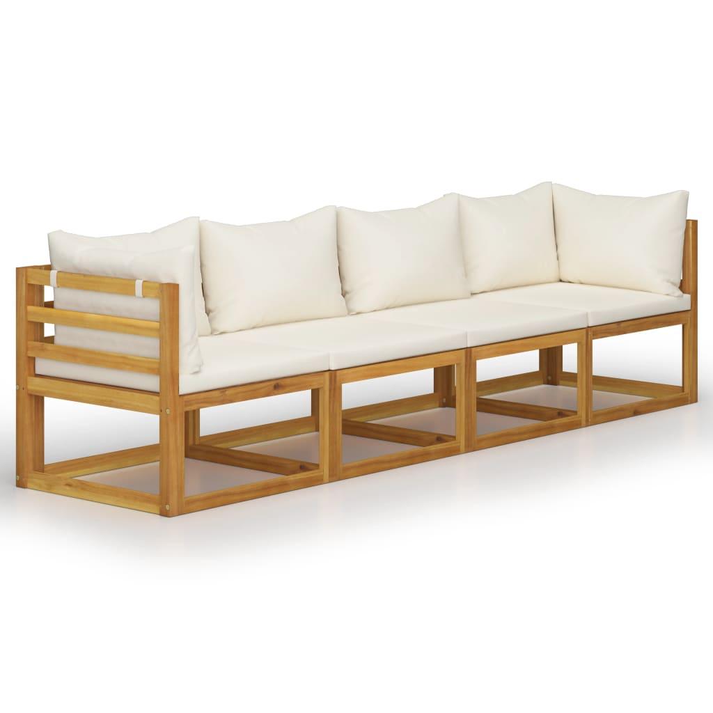 vidaXL Canapea de grădină 4 locuri cu perne, crem, lemn masiv acacia poza vidaxl.ro