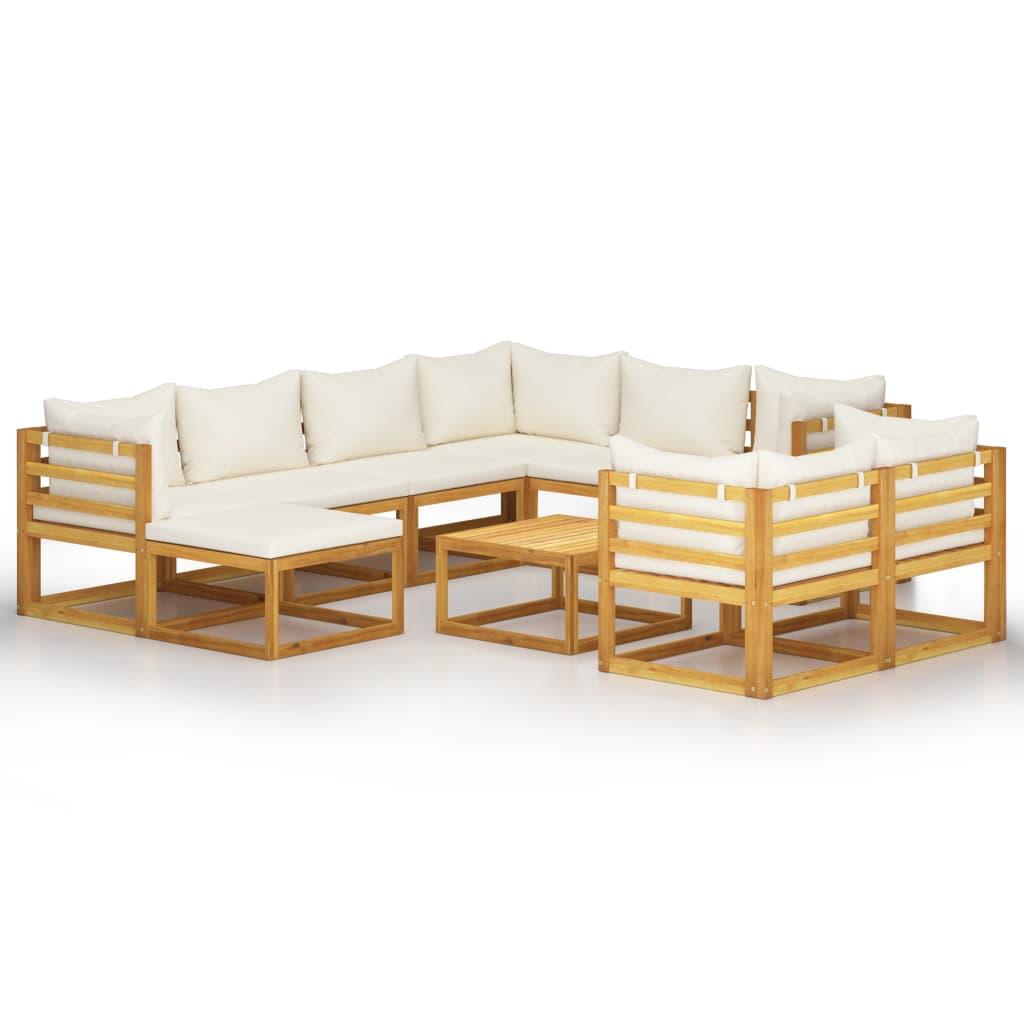10-tlg. Garten-Lounge-Set mit Auflagen Creme Massivholz Akazie