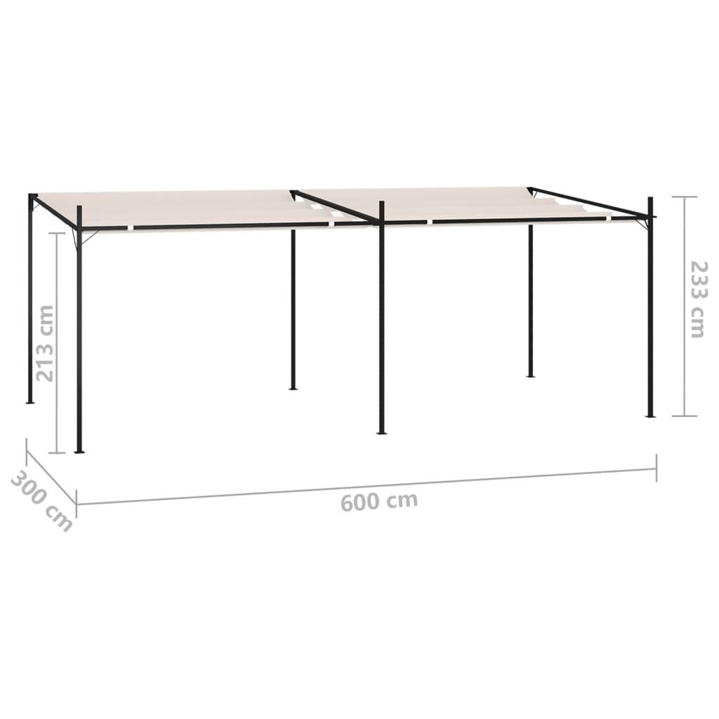Varjualune eemaldatava katusega 600x300x233 cm, kreemjasvalge