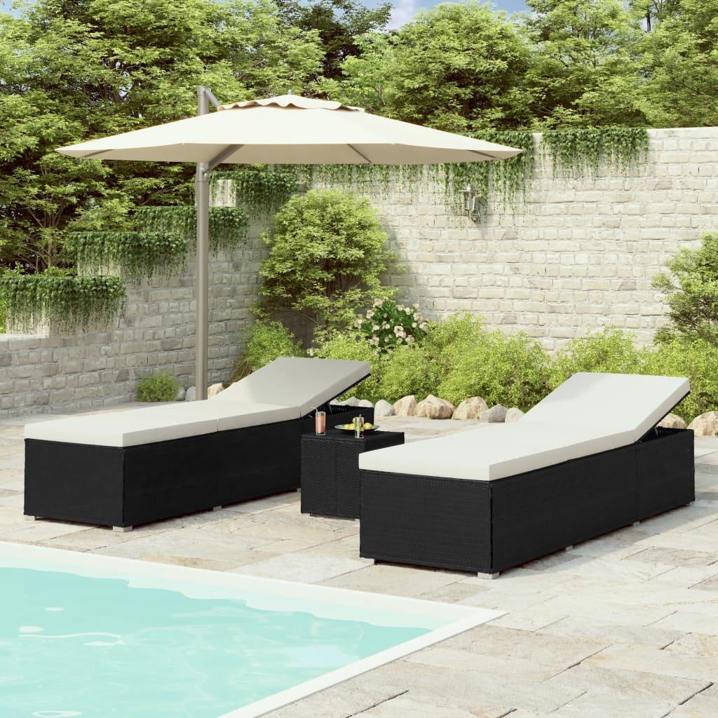 vidaXL 3dílná zahradní lehátka s čajovým stolkem polyratan černá