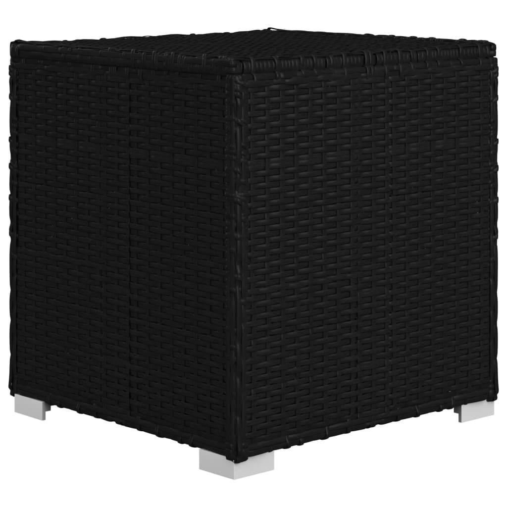 vidaXL 3-delige Ligbeddenset met theetafel poly rattan zwart