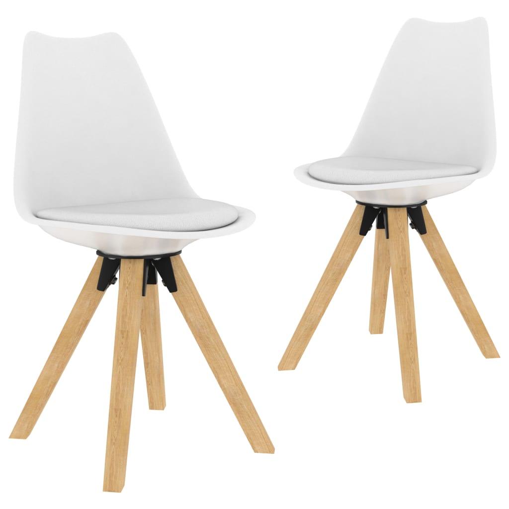 Jídelní židle 2 ks bílé PP a masivní bukové dřevo