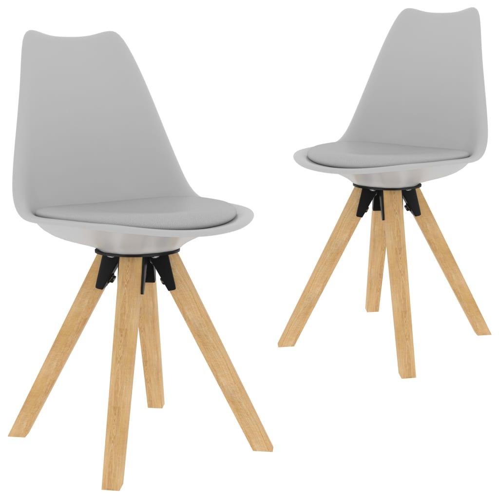 Jídelní židle 2 ks šedé PP a masivní bukové dřevo