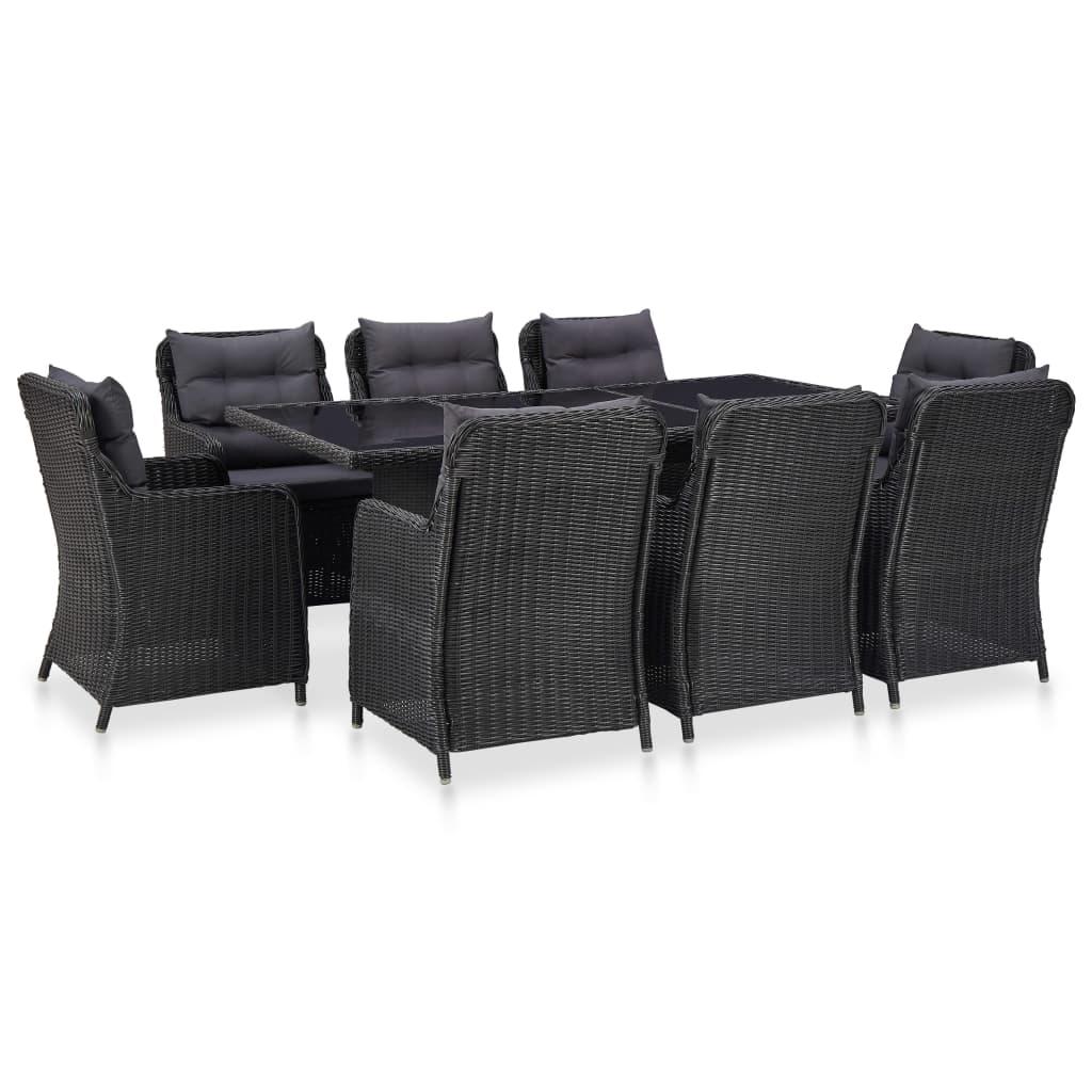 vidaXL Set mobilier de exterior, 9 piese, negru, poliratan poza 2021 vidaXL