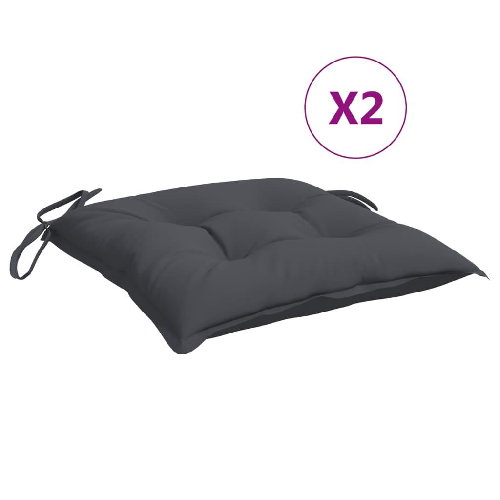 vidaXL hynder til havestole 2 stk. 40x40x7 cm stof antracitgrå