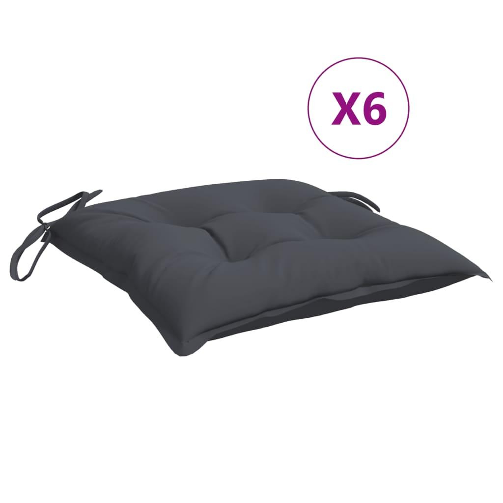 vidaXL Perne de scaun, 6 buc., antracit, 40 x 40 x 7 cm, textil vidaxl.ro