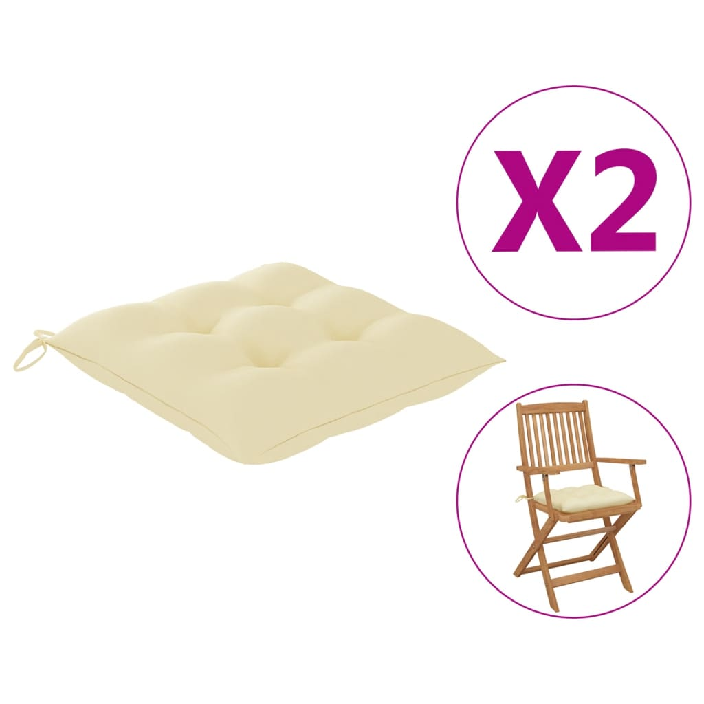 vidaXL hynder til havestole 2 stk. 40x40x7 cm stof cremehvid