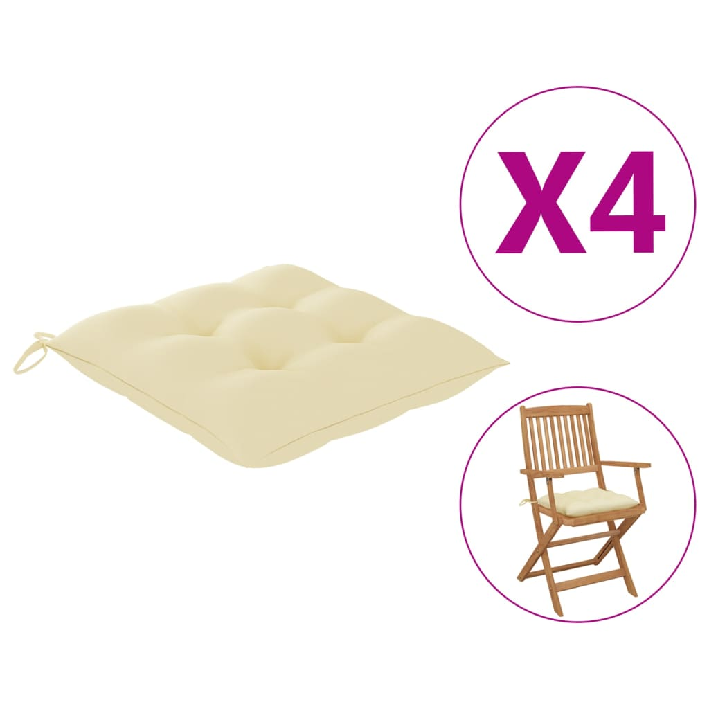 vidaXL Perne de scaun, 4 buc., alb crem, 40 x 40 x 7 cm, textil vidaxl.ro