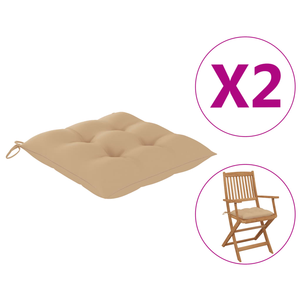 vidaXL hynder til havestole 2 stk. 40x40x7 cm stof beige