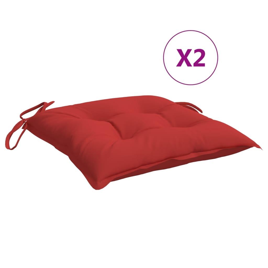 vidaXL hynder til havestole 2 stk. 40x40x7 cm stof rød