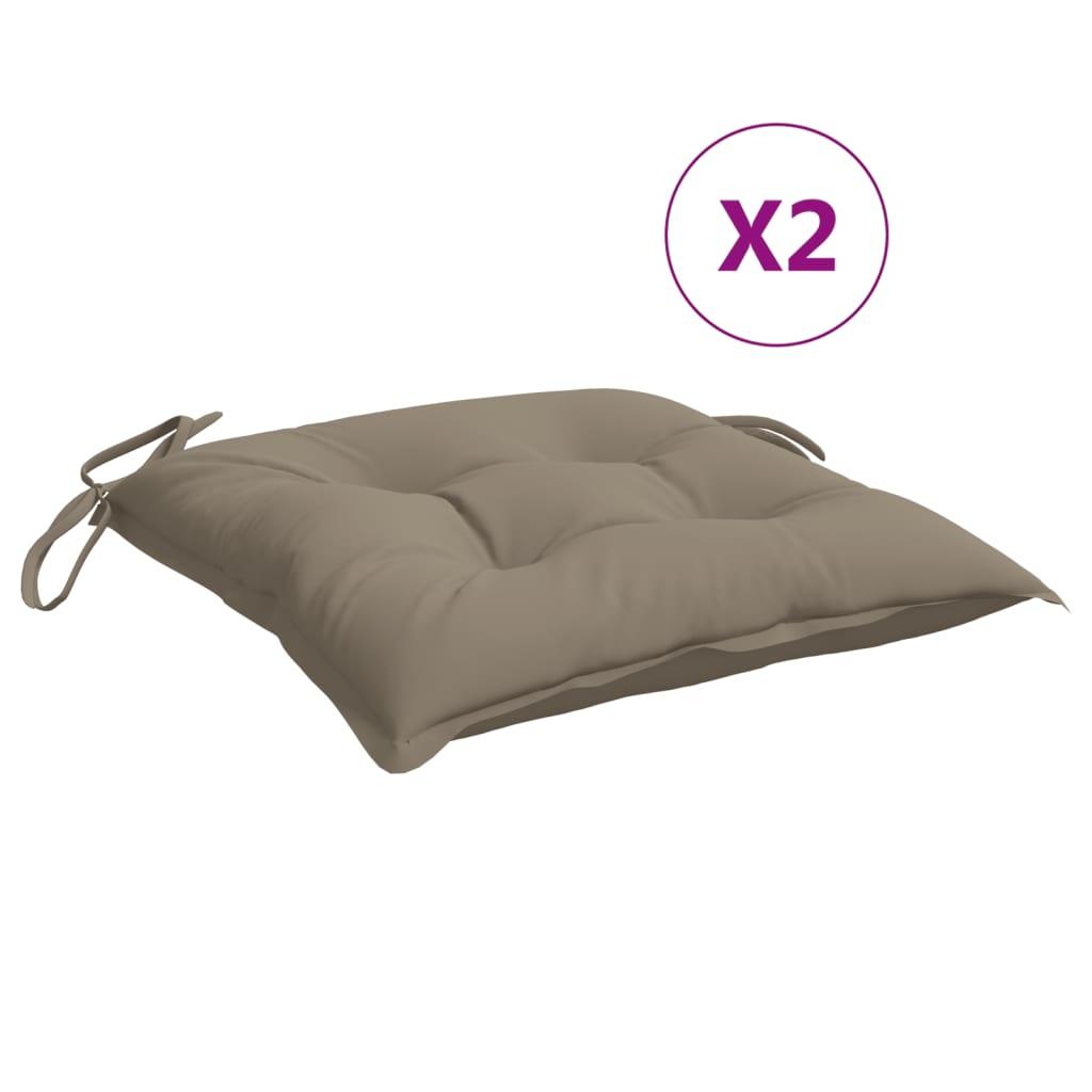vidaXL hynder til havestole 2 stk. 40x40x7 cm stof gråbrun