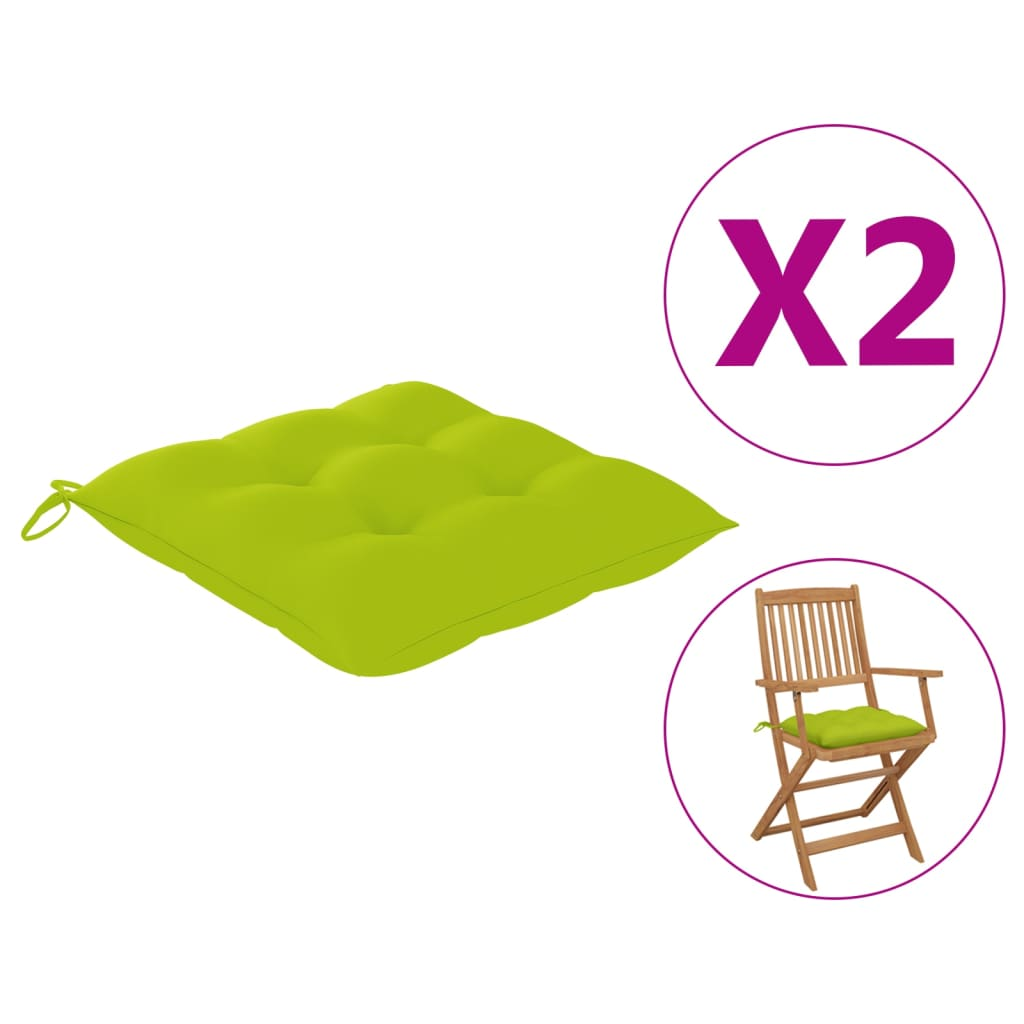 vidaXL hynder til havestole 2 stk. 40x40x7 cm stof lysegrøn