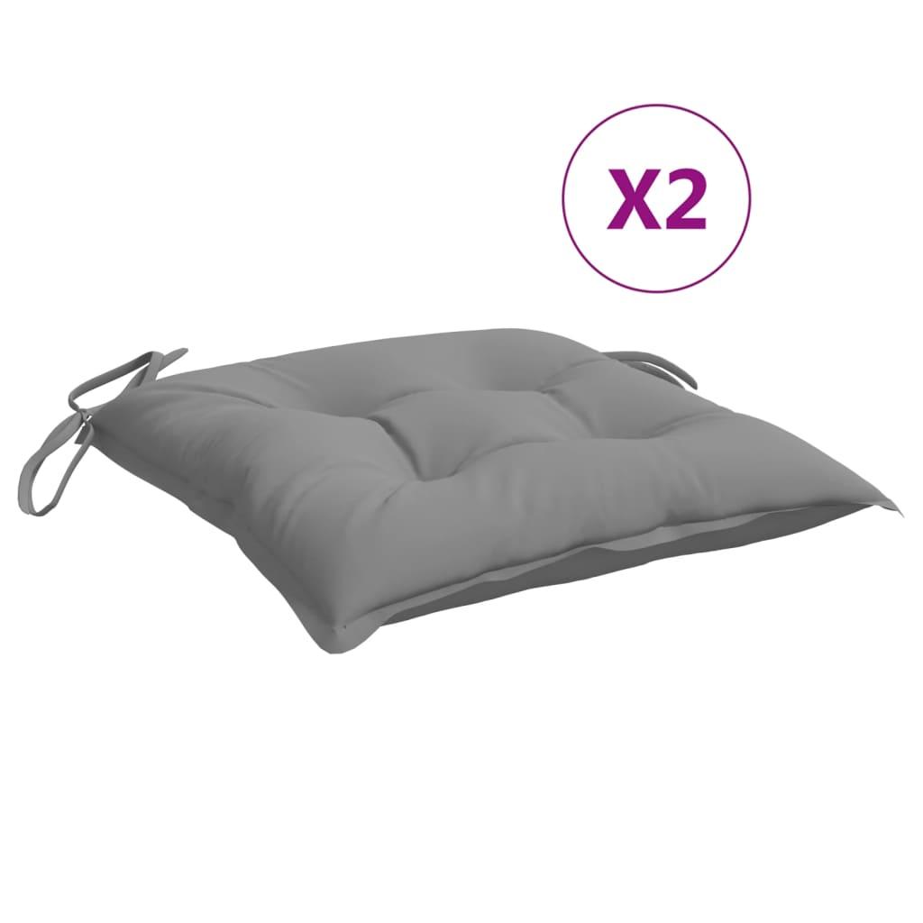 vidaXL hynder til havestole 2 stk. 50x50x7 cm stof grå