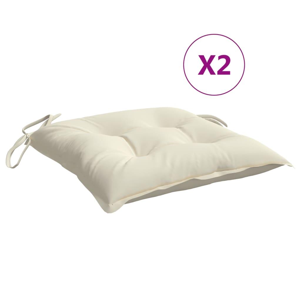 vidaXL hynder til havestole 2 stk. 50x50x7 cm stof cremehvid