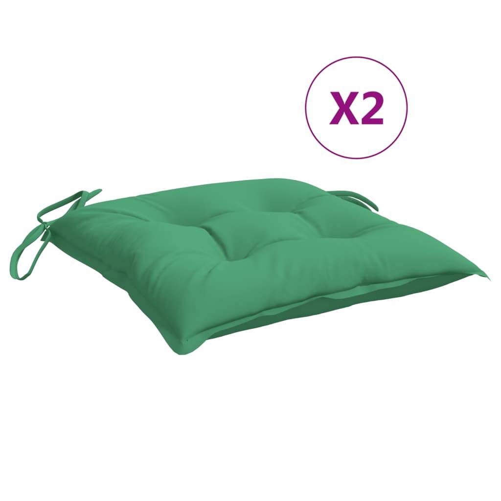 vidaXL hynder til havestole 2 stk. 50x50x7 cm stof grøn