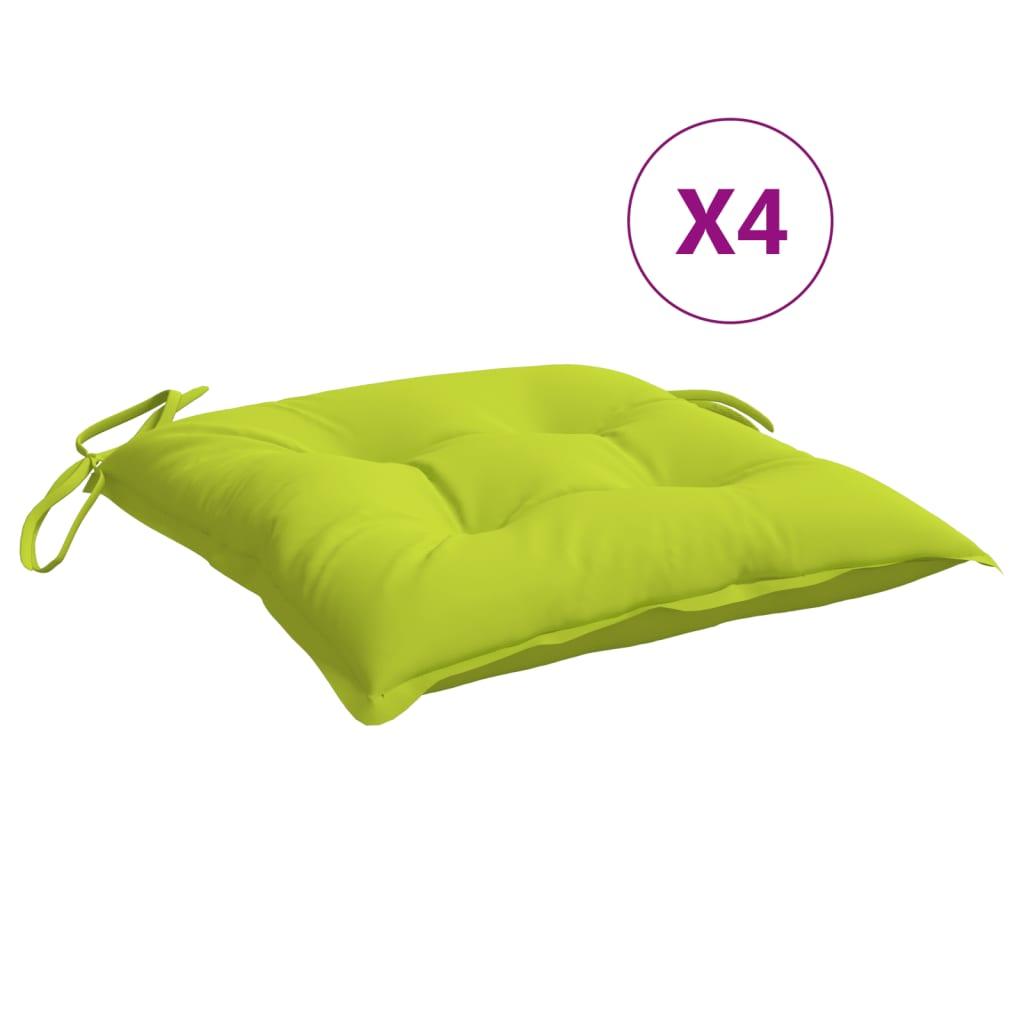vidaXL hynder til havestole 4 stk. 50x50x7 cm stof lysegrøn