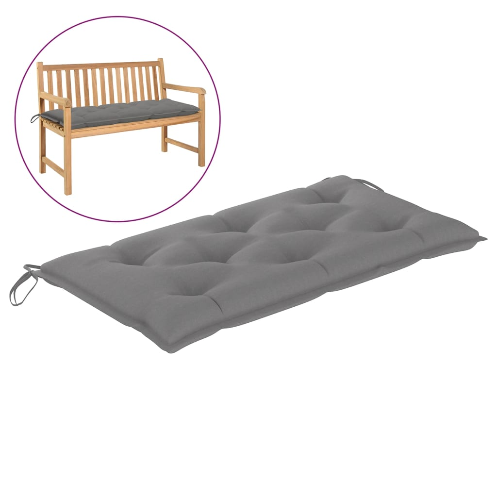Poduška na zahradní lavici šedá 100 x 50 x 7 cm textil