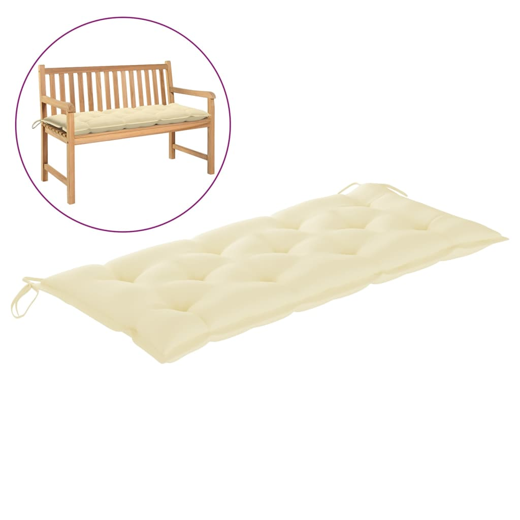 Poduška na zahradní lavici krémově bílá 120 x 50 x 7 cm textil