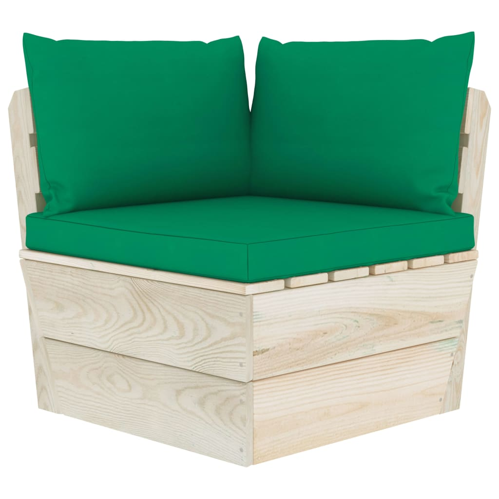 vidaXL Perne pentru canapea din paleți, 3 buc., verde, textil poza 2021 vidaXL