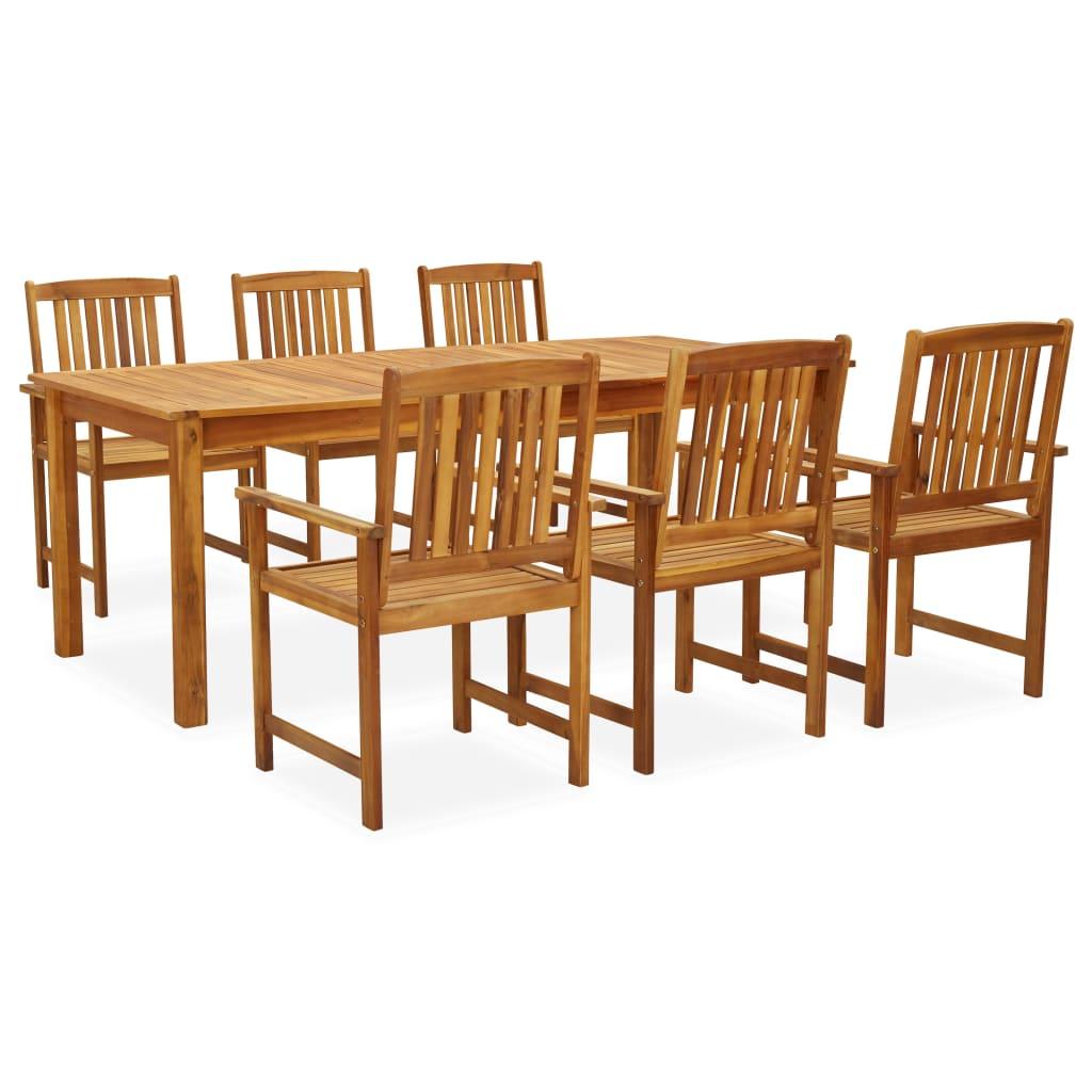 vidaXL Set mobilier de exterior, 7 piese, lemn masiv de acacia imagine vidaxl.ro