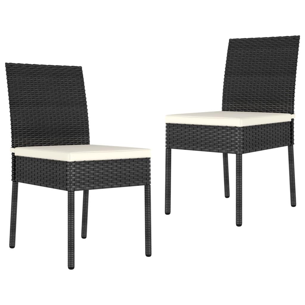 vidaXL Scaune de masă pentru grădină, 2 buc., negru, poliratan imagine vidaxl.ro