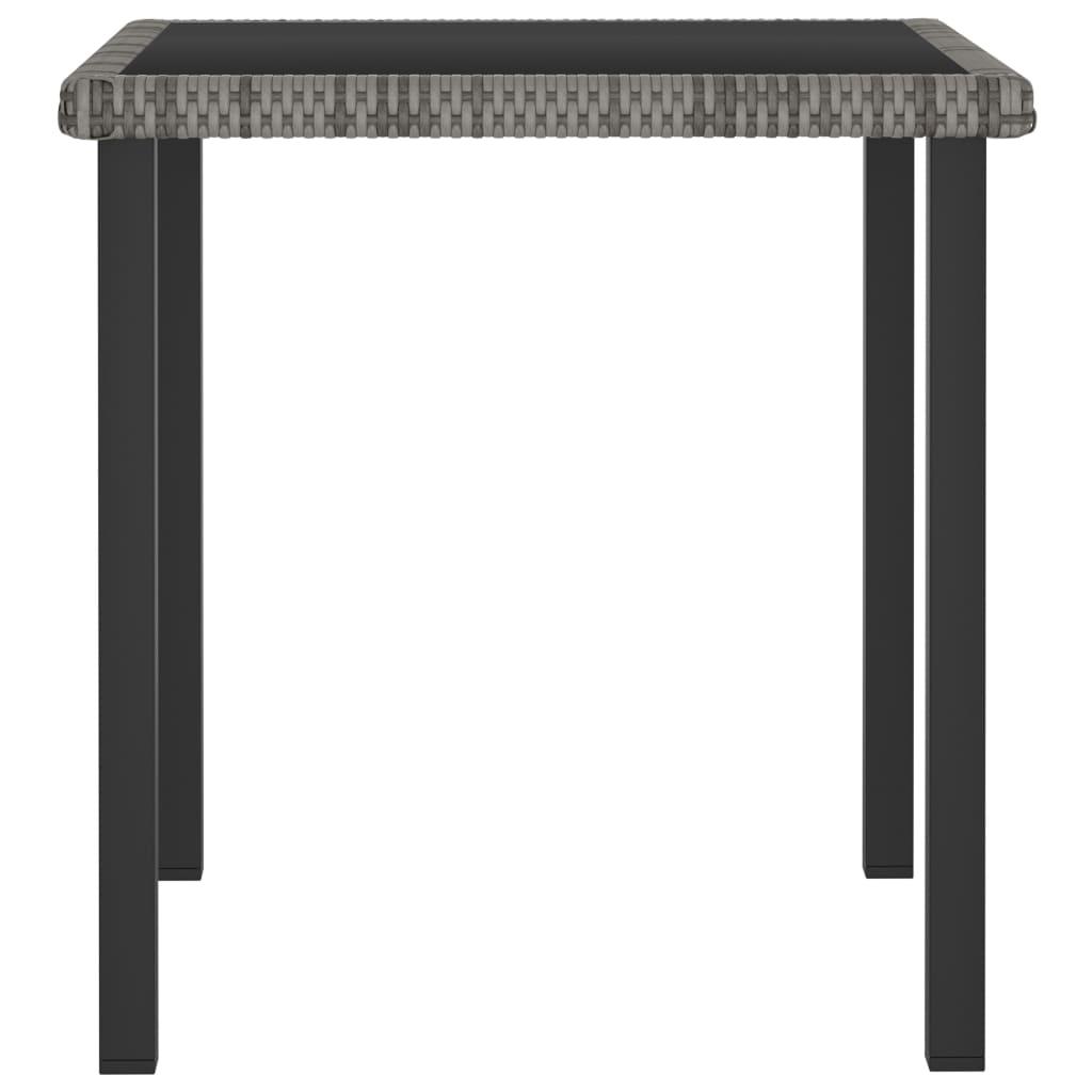 vidaXL Tuintafel 70x70x73 cm poly rattan grijs