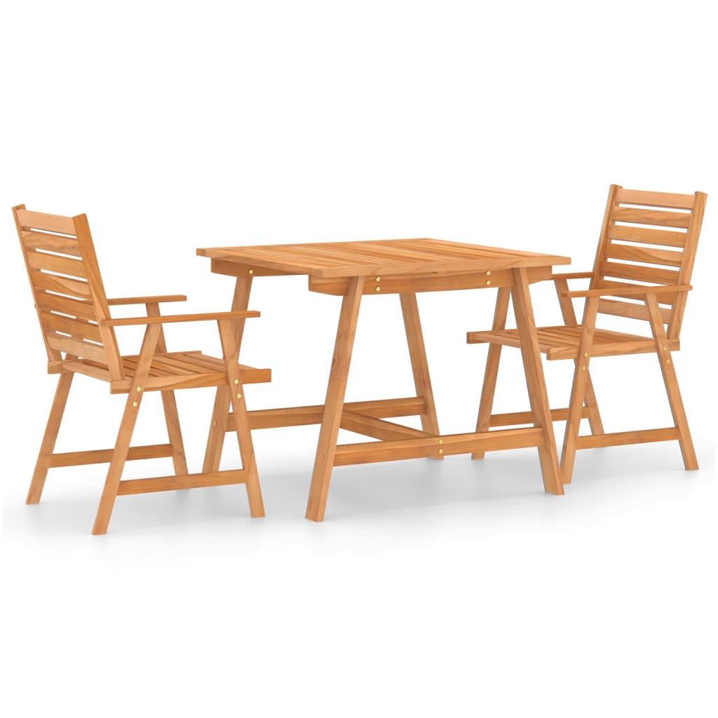 3dílný zahradní jídelní set masivní akáciové dřevo