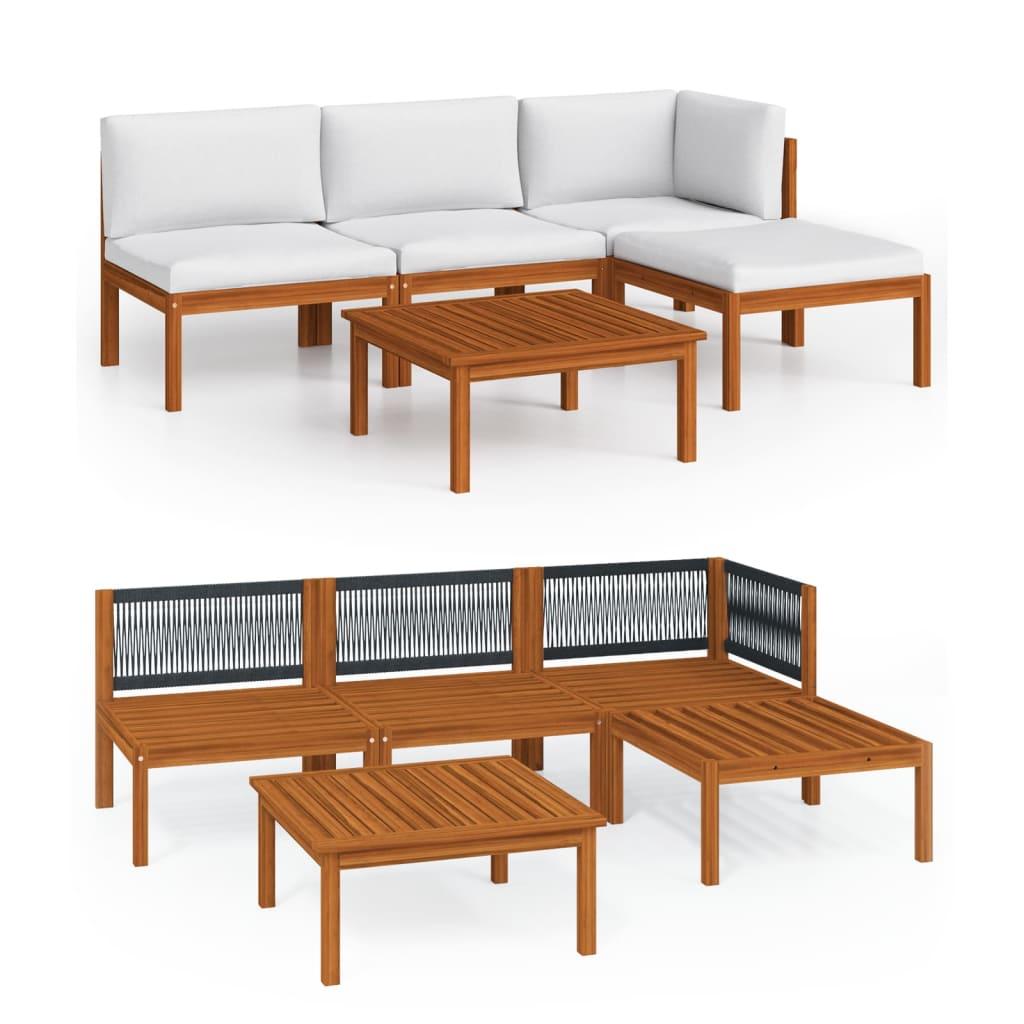 vidaXL Set mobilier de grădină, 5 piese, perne crem, lemn masiv acacia vidaxl.ro